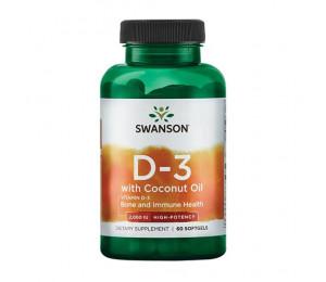 Swanson  Vitamin D3 + Coconut Oil, 2000IU 60caps