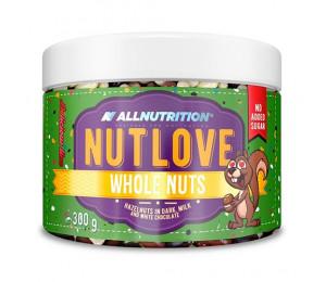 AllNutrition Nutlove Whole Nuts Hazelnut in Dark, Milk and White Chocolate 300g